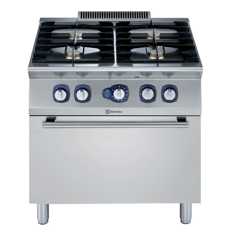 Electrolux Professional 700XP Fornuis, 4 open branders op gasoven